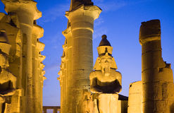 Egypt. Luxor, columns and Ramses statue in the temple dedicated to god Amon-Ra stock photos