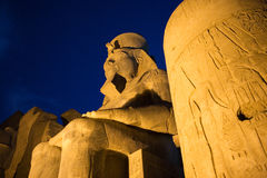 Egypt. Luxor, columns and Ramses statue in the temple dedicated to god Amon-Ra stock image