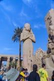 egypt luxor Februari 20, 2017: Staty av en ins för egyptisk gud Royaltyfria Bilder