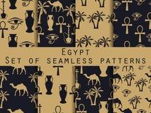 egypt mönsan den seamless seten egypt symboler Prydnad Vec royaltyfri illustrationer