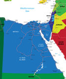 Egypt map. Detailed vector map of Egypt with country borders, county names, main roads and a highly detailed state silhouette Stock Photos
