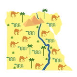 Egypt map Characters and attractions of Egypt Stock Photo