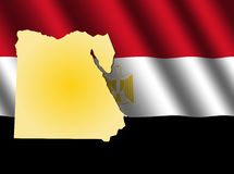 Egypt map on flag Royalty Free Stock Photo