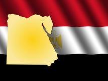 Egypt map on flag Royalty Free Stock Photo