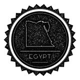 Egypt Map Label with Retro Vintage Styled Design. Hipster Grungy Egypt Map Insignia Vector Illustration. Country round sticker Royalty Free Stock Image