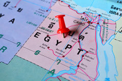 Egypt map. Macro shot of egypt map with push pin stock photo