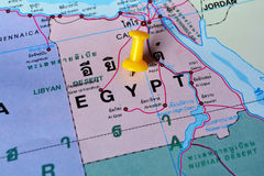 Egypt map. Macro shot of egypt map with push pin stock images
