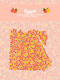 Egypt map made out of peaches. Veggie postcard. Egypt map poster or card. Vegetarian postcard. Map of Egypt made out of pink nectarines. Illustration. Series Stock Image