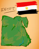 Egypt Map and National Flag Vector Royalty Free Stock Photos