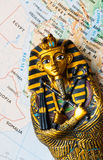 Egypt map pharaoh. Egypt tourism concept - pharaoh Tutankhamun's sarcophagus on Egypt map Stock Image