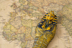 Egypt map pharaoh. Egypt tourism concept - pharaoh Tutankhamun's sarcophagus on map stock photos