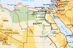 Egypt map. Egypt physical map closeup picture stock image