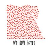 Egypt Map with red hearts - symbol of love. abstract background. Egypt Map with red hearts- symbol of love. abstract background with text We Love Egypt. vector Stock Photo