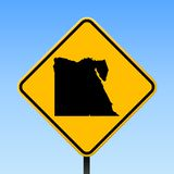 Egypt map on road sign. Square poster with Egypt country map on yellow rhomb road sign. Vector illustration stock illustration
