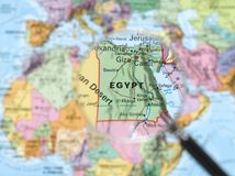 Egypt. Map viewed through magnifying glass. Other Magnifying Glass Photo stock images