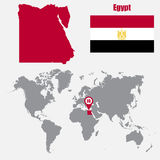 Egypt map on a world map with flag and map pointer. Vector illustration Royalty Free Stock Photo