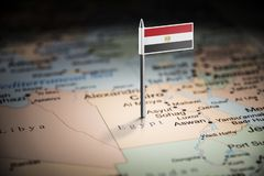 Egypt marked with a flag on the map.  royalty free stock photos