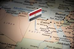 Egypt marked with a flag on the map.  royalty free stock photo