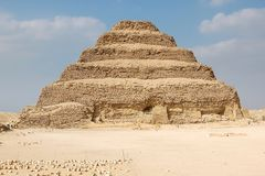 Egypt, Memphis, pyramid to degrees of Djoser. In Egypt, the pyramid to degrees of Saqqarah was built under the pharaoh Djoser, it marks an important evolution stock image