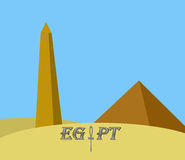 Egypt monuments. Illustration of ancient egypt monuments in desert Stock Illustration