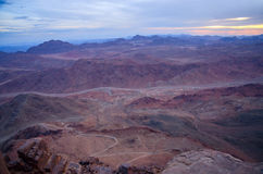 Egypt, the morning twilight in the Sinai mountains Stock Photography