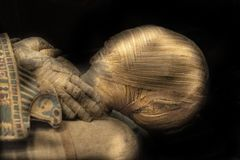 Egypt mummy head close up. Egyptian mummy head close up detail royalty free stock images