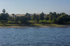 Egypt Nile cruise, a nice view from the boat to shore Stock Photos