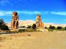 Egypt, North Africa, Colossi of Memnon Royalty Free Stock Photography