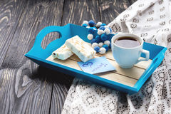 Egypt nougat and cup of coffee in tray Royalty Free Stock Photography