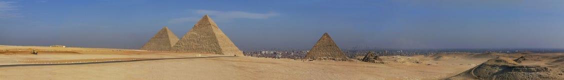 egypt panoramapyramid Arkivfoton
