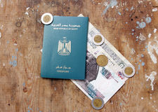 Egypt passport and money Royalty Free Stock Images