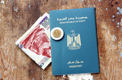 Egypt passport and money Royalty Free Stock Image