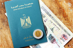 Egypt passport and money Stock Images