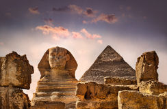 Egypt. Photo of the Sphinx in Egypt in sunset Royalty Free Stock Photo