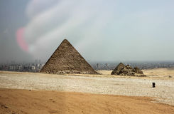 Egyptian pyramids in the desert Royalty Free Stock Image