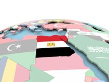 Flag of Egypt on bright globe. Egypt on political globe with embedded flags. 3D illustration Royalty Free Stock Image