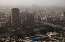Egypt Poluição atmosférica densa sobre o Cairo fotografia de stock royalty free