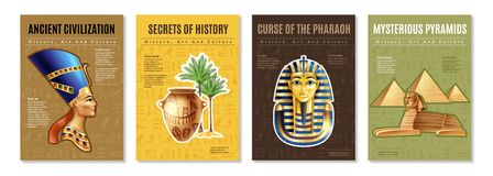 Egypt Posters Set. With images of pharaoh tomb mysterious pyramid and ancient artifacts cartoon vector illustration royalty free illustration