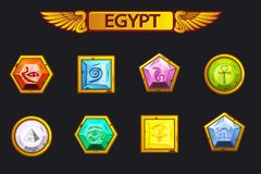 Egypt precious and multi-colored stones, game assets icons. Egypt precious and multi-colored vector stones, game assets icons royalty free illustration