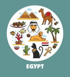 Egypt promotional poster with national symbols and architecture. Inside circle. Famous pyramids and phynx, traditional dish, symbolic animals and nature cartoon Royalty Free Stock Photography