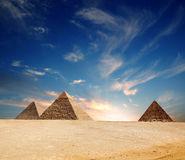 Egypt pyramid. And blue sky. Panorama Royalty Free Stock Image