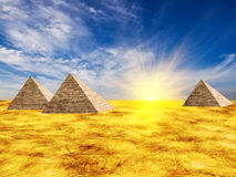Egypt pyramid. And sun beams Stock Photo