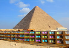 Egypt pyramid and colorful spotlights. In Giza Stock Photos