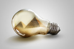 Egypt pyramid. Grate Giza pyramids. Great pyramids in Giza inside light bulb Royalty Free Stock Photography