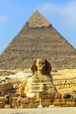 Egypt pyramid and sphinx. Famous ancient egypt pyramid and sphinx in Giza Royalty Free Stock Photography