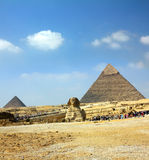 Egypt pyramid and sphinx. Famous ancient egypt pyramid and sphinx in Giza Stock Images