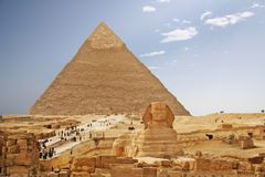 Egypt pyramid and sphinx. Pyramids of Cheops and Sphinx. Giza Egypt Stock Photo