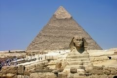 Egypt - pyramid and Sphinx in Giza. Egypt - Khafra's Pyramid and Sphinx of Giza; Cairo Stock Images