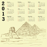 Egypt pyramid vintage 2013 calendar. Vintage 2013 calendar with hand drawn illustration of famous tourist destination sphinx and pyramids of Egypt stock illustration