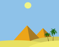 Egypt pyramids. Illustration of two egypt pyramids with shining sun Royalty Free Stock Photography